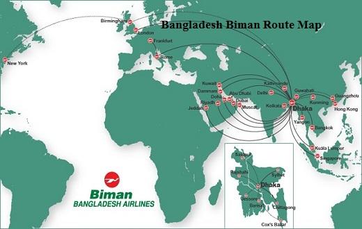 Bangladesh Biman Route Map