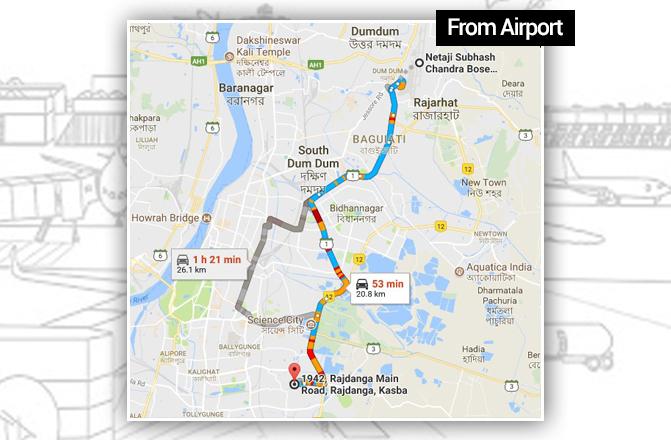 Kolkata airport to Kasba